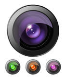 Camera lenses. Set of four camera lenses isolated Stock Image