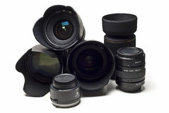 Camera lenses and accessories. Stock Photo
