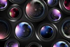 Camera Lenses Background Stock Photos