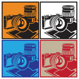 Camera and lenses. Stylized vector illustration on the theme of photography and photographic equipment. The camera and lenses Royalty Free Stock Image