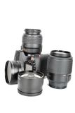 Camera and  lenses on the white. Royalty Free Stock Photos