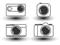 Camera line icon vector illustration. Camera with lens in flat icon.isolate on white background. Vector illustration royalty free illustration