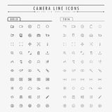 Camera line icons on bold and thin line concept Stock Photos