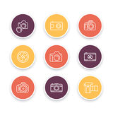 Camera line icons, dslr, diaphragm, photography, camera pictogram, color round linear icon set Royalty Free Stock Photos