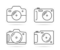 Camera Line Icons. 4 Camera line icons on white backgound Royalty Free Stock Photo