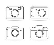 Camera Line Icons. 4 Camera line icons on white background Stock Images