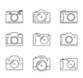 Camera Line Icons. 9 Camera line icons on white background Stock Image