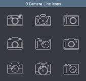 Camera Line Icons. 9 Camera line icons on white background Stock Photo