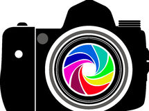 Camera logo. Illustration art of a camera logo with isolated background royalty free illustration