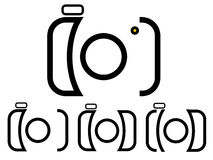 Camera Logo. In four different style. Photography Logo on white background  with isolated background. Can be used by photographers, easy to edit royalty free illustration