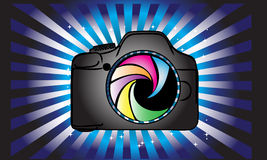 Camera logo drawing.Photography logo design Royalty Free Stock Photos