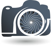 Camera logo. Illustration art of a camera logo with background stock illustration