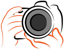 Camera logo. Illustration of camera holding hands vector illustration