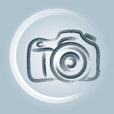 Camera Logo. A photography logo of a camera with a brush and paint feel vector illustration