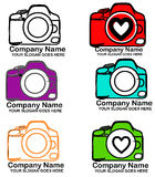 Camera logo. Set with different cameras logo . Love photography Stock Photo