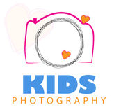 Camera logo Vector. Camera Logo Vector isolated on white background, AI file also available, Image contain words kids photography, in kids color pink orange and stock illustration