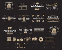 Camera logo. Vintage Photography Badges, Labels, dslr. Hipster design with photographer elements. Retro style for photo Royalty Free Stock Photos