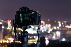Camera. A camera looking at the beautiful night view Stock Images