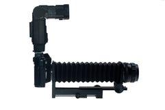 Camera with macro attachment Stock Photo
