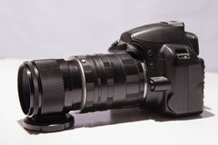 Camera with a macro lens Royalty Free Stock Images