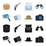 Camera, magnifier, hat, notebook with pen.Detective set collection icons in black,cartoon style vector symbol stock. Illustration Stock Image