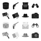 Camera, magnifier, hat, notebook with pen.Detective set collection icons in black,monochrome style vector symbol stock. Illustration Stock Images