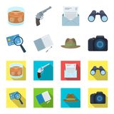 Camera, magnifier, hat, notebook with pen.Detective set collection icons in cartoon,flat style vector symbol stock. Illustration Stock Photo