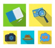 Camera, magnifier, hat, notebook with pen.Detective set collection icons in flat style vector symbol stock illustration.  Royalty Free Stock Photography