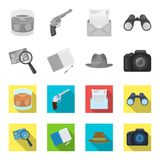 Camera, magnifier, hat, notebook with pen.Detective set collection icons in monochrome,flat style vector symbol stock. Illustration Royalty Free Stock Image