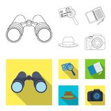 Camera, magnifier, hat, notebook with pen.Detective set collection icons in outline,flat style vector symbol stock. Illustration Stock Images