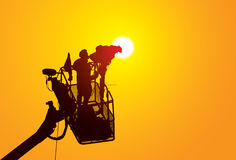 Camera man. Illustration of working TV cavera man Royalty Free Stock Image