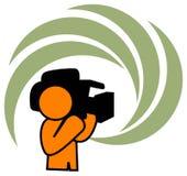 Camera man. Isolated line art work Royalty Free Stock Photos