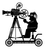 Camera man. And vintage camera in action vector illustration