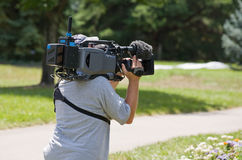 Camera Man. On the Scene in Action royalty free stock images