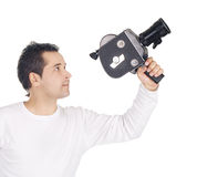 Camera man isolated over white Stock Photography