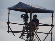Camera man silhoette. Camera man at the Newport Folk Festival Stock Images