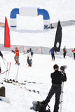 Camera man view of competition. International Free Skiing Competition at Snowbird Utah camera man view of event Stock Photos