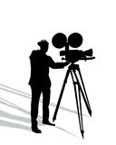 Camera man on white. Camera man and shadow silhouette over white background Stock Photos