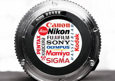 Camera manufacturers logos and brands Stock Photo