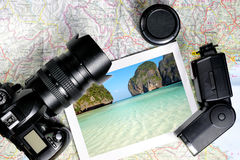 Camera and Map Stock Photo