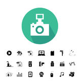 Camera and media icon set. Camera and media vector icon set Stock Image