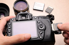 Camera and memory card. DSLR camera with SD memory card Stock Image