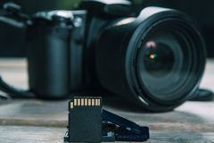 Camera and memory cards Stock Images