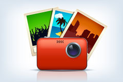 Camera met drie foto's stock illustratie
