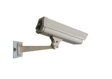 camera met gesloten circuit die van kabeltelevisie op witte achtergrond wordt geïsoleerd Stock Afbeelding