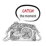 Camera met Vangst ogenblik het van letters voorzien vector illustratie