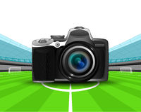 Camera in the midfield of football stadium vector Stock Photography