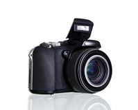 Camera with mirror image isolated over white Royalty Free Stock Photography