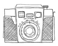 Camera 35mm Film cute line art illustration Stock Photography