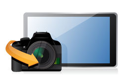 Camera and a modern tablet Stock Photo
